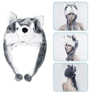 DCCKJG2 1pcs handmade Animal style Soft Cartoon Wolf Cute Fluffy Plush kids Hat Cap