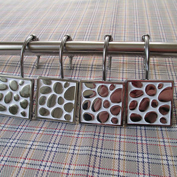 12 PCS - Silver White Pebble Decorative Rolling Shower Curtain Hooks Rings Metal / Modern Chic Bathroom Decor Hardware Blings Accessories
