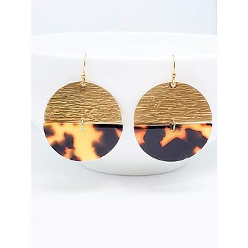 Round Acrylic Drop Earring – Tortoise Shell and Brass