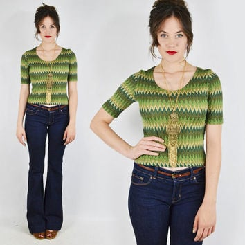 vtg 90s 70s boho hippie ethnic green ombre CHEVRON ZIG-ZAG stripe crop t-shirt blouse top S