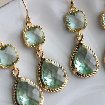 15% Off Set of 7 Prasiolite Green Bridesmaid Earrings Bridal Bridesmaid Wedding Jewelry Two Tier Prasiolite Green Earrings Gold Teardrop