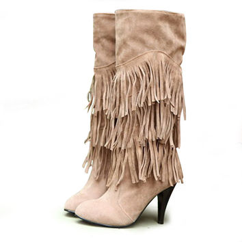Women 2015 new Autumn and winter shoes nubuck leather stiletto boots fringed motorcycle boots Tall canister boots knight
