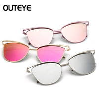 OUTEYE New Fashion Metal Frame Cat Eye Sunglasses Women Brand Designer Glasses Vintage Sun Glasses Mirror Oculos Gafas De Sol