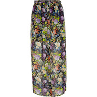 River Island Womens Black floral button down maxi skirt