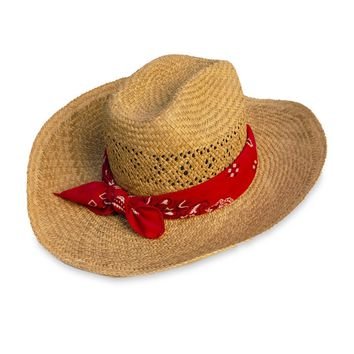 Vintage Straw Cowboy Hat with Red Bandana