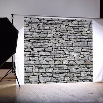 8x8FT Light Gray Stone Wall Custom Photo Studio Background Backdrop Vinyl