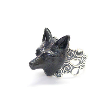 Black Fox Ring Adjustable Silver Filigree Fox Ring