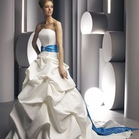 Strapless Satin A-line Wedding Dress with Embellished Belt YSP8228 - $149.88 : Maxnina.com