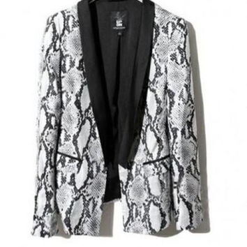 Slim Lapel Blazer in Snake Skin Print with Open Front