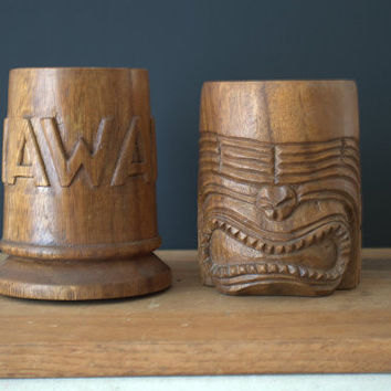 Vintage Teak Mugs, Carved Tiki Mugs, Vintage Wood Totem Cups, Luau Party Cups