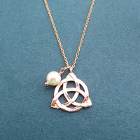 Celtic, Knot, White, Pearl, Rose gold, Necklace, Birthday, Best friends, Sister, Gift, Jewelry
