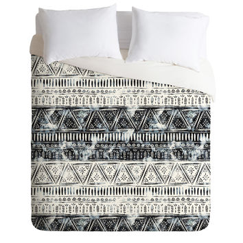 Schatzi Brown Mendhi Black and White Duvet Cover