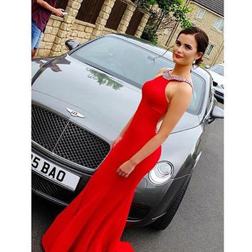 Red Prom Dresses,Satin Prom Dresses,Long Evening Dress