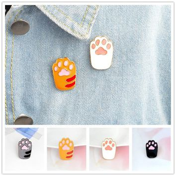 Cartoon Cat Paw Hard Enamel Pin Yellow White Metal Animal Pet Brooch for girl cat lovers Backpack Jacket Lapel Pin Badge Jewelry