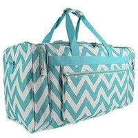 Chevron Fashion Duffel Bag - Aqua Travel Bag Dorm Room Supplies College Stuff for Girls Graduation Gifts for Girls