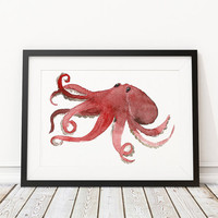Octopus print Watercolor poster Nursery art ACW13