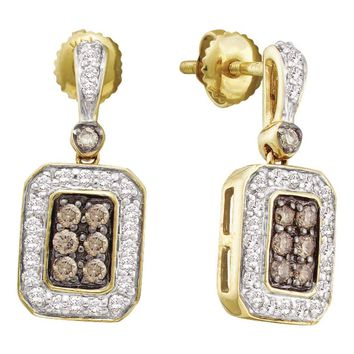 14kt Yellow Gold Womens Round Brown Color Enhanced Diamond Dangle Earrings 1/2 Cttw