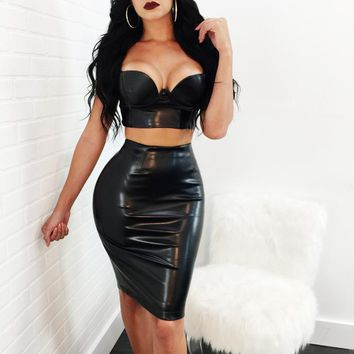 New Sexy PU Leather Bandage Dresses 2018 Women Two Piece Set Bodycon Spaghetti Strap Party Dress V Neck Vestidos Summer Clubwear