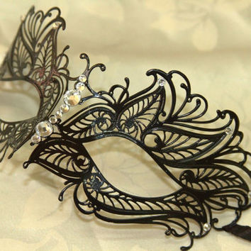 Beautiful Black Butterfly Masquerade Laser Cut Mask with Rhinestones