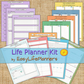 Life Planner Kit. Printable PDF. Daily, Weekly, Monthly, Project, Menu planners and Yearly Calendar. Instant Download.