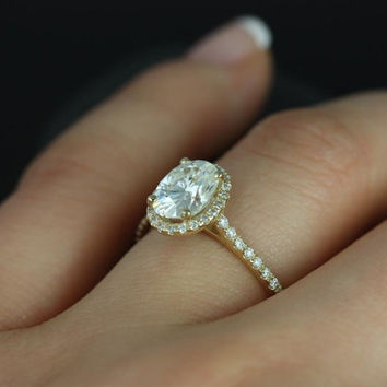 Rebecca 14kt Yellow Gold Oval FB Moissanite and Diamond Halo Engagement Ring (Other metals and stone options available)