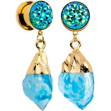 00 Gauge Blue Faux Druzy Quartz Gold Tone Dangle Screw Fit Plug Set