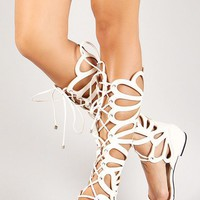 Breckelle Lace Up Gladiator Flat Sandal