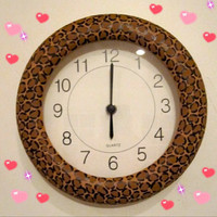 Hand Painted Leopard Print Clock