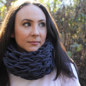 Steel Grey Arm Knit Fleece Scarf