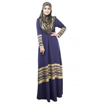 Elegant Islamic Muslim Women Kaftan Abaya Jilbab Loose Pocket Long Sleeve Maxi Dress