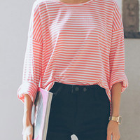 Pink Striped Printed Long Sleeve Side Split T-shirt