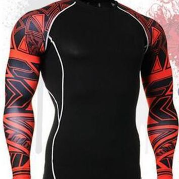 Men's Compression Shirt Red Geometric Long Sleeve