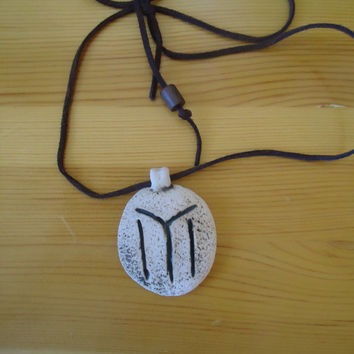 Handmade ceramic pendant. White clay engraved with IYI Tangra symbol. FREE SHIPPING!