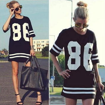 New Women Baseball tshirt 86 Letter Print Short-sleeve Loose T shirt Brand Desigual Tees Female Large Size T-shirt 1521-0436