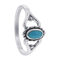925 Sterling Silver Turquoise 5mm Oval Southwestern Style Twist Ring