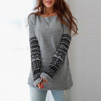 Gray Geometric Printed Long Sleeve Knitted Sweatshirt