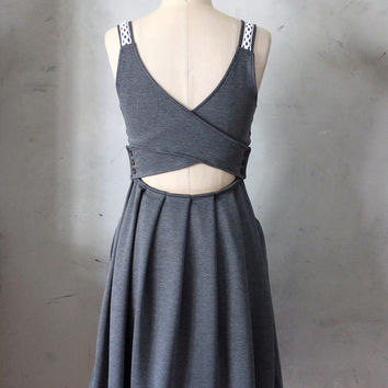 DERICA Charcoal - Dark heather grey jumper dress with pockets // crochet // stretch ponte // cut out // bridesmaid // pleated skirt // day
