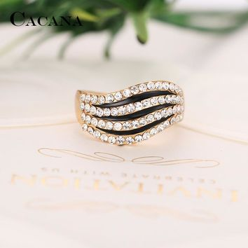 CACANA Shinning Cubic Zirconia Rings For Women Sexy Black Trendy Zinc Alloy Rings Jewelry Bijouterie Wholesale NO.R569