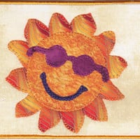 Here Comes the Sun Quilted Fabric Postcard