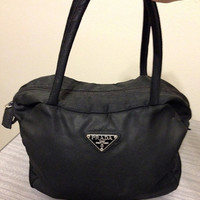 Vinage Prada Handbag Purse Black Nylon Made in Italy 100% Authentic Vintage FREE SHIPPING