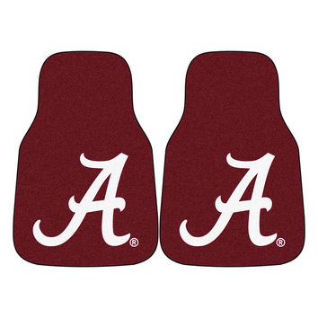 Alabama Crimson Tide NCAA 2-Piece Printed Carpet Car Mats (18x27)