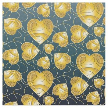 Golden Hearts Pattern Fabric