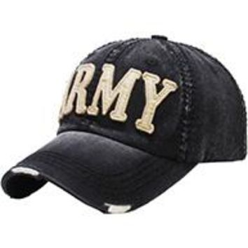 BLACK stylish  ARMY DISTRESSED AND FADED  Baseball HAT /CAP