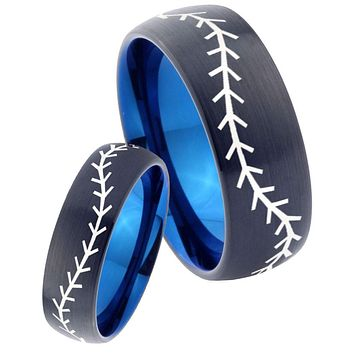 His Hers Baseballs Dome Tungsten Carbide Blue Promise Ring Sets