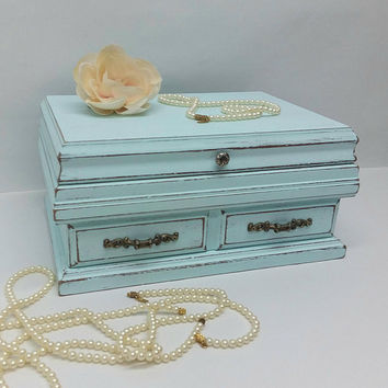 Vintage Shabby Chic Rustic Wooden Jewelry Box Painted Light Blue Distressed Upcycled Refurbished