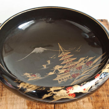 Vintage Japanese Lacquer Ware Wood Bowl, Black Lacquerware with Red and Gold and Inlaid Mother of Pearl