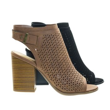 Jamal Tan by Soda, Stack Block Heel Perforated Pattern Shootie, Western Bootie Sandal