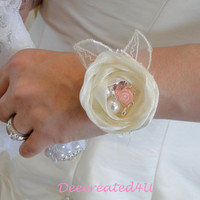 Wrist Corsage Bridal Bridesmaid Bracelet Cuff Ivory Organza Flower Embroidered Lace Leaves Rhinestone Pearl and Rose Bangle Vintage