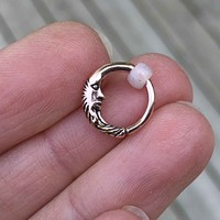 Moon Rose Gold Daith Hoop Ring Rook Hoop Cartilage Helix Tragus