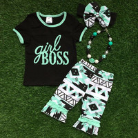 NEW SUMMER GIRLS BOSS OUTFIT SET WITH MATCHING BOW & NECKLACE!! 4pcs